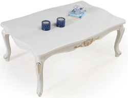 Casa Padrino luxury baroque solid wood coffee table white / gold 108 x 78 x H. 46 cm - Living Room Table in Baroque Style