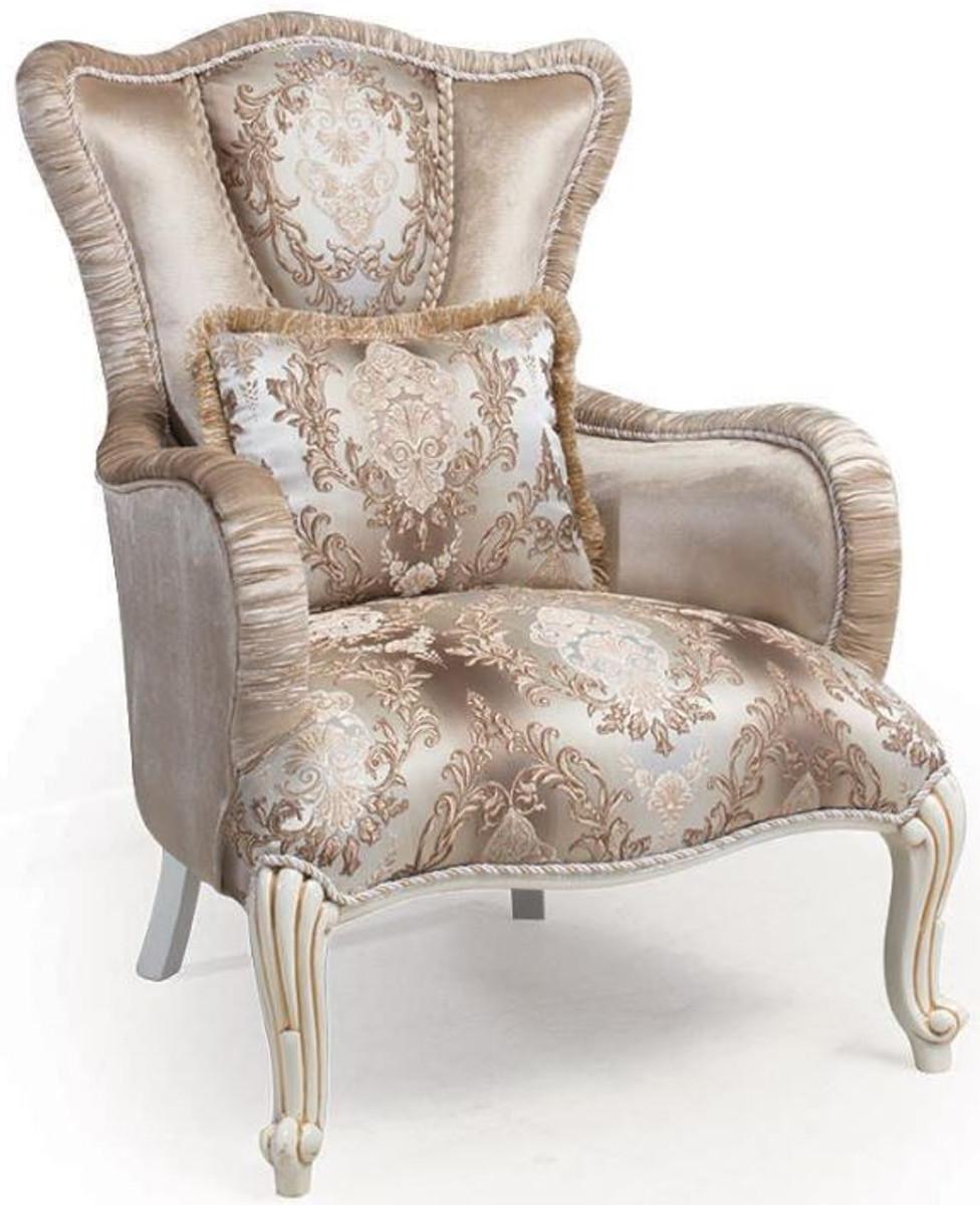 Casa Padrino Luxus Barock Sessel mit Kissen Beige / Weiß ...