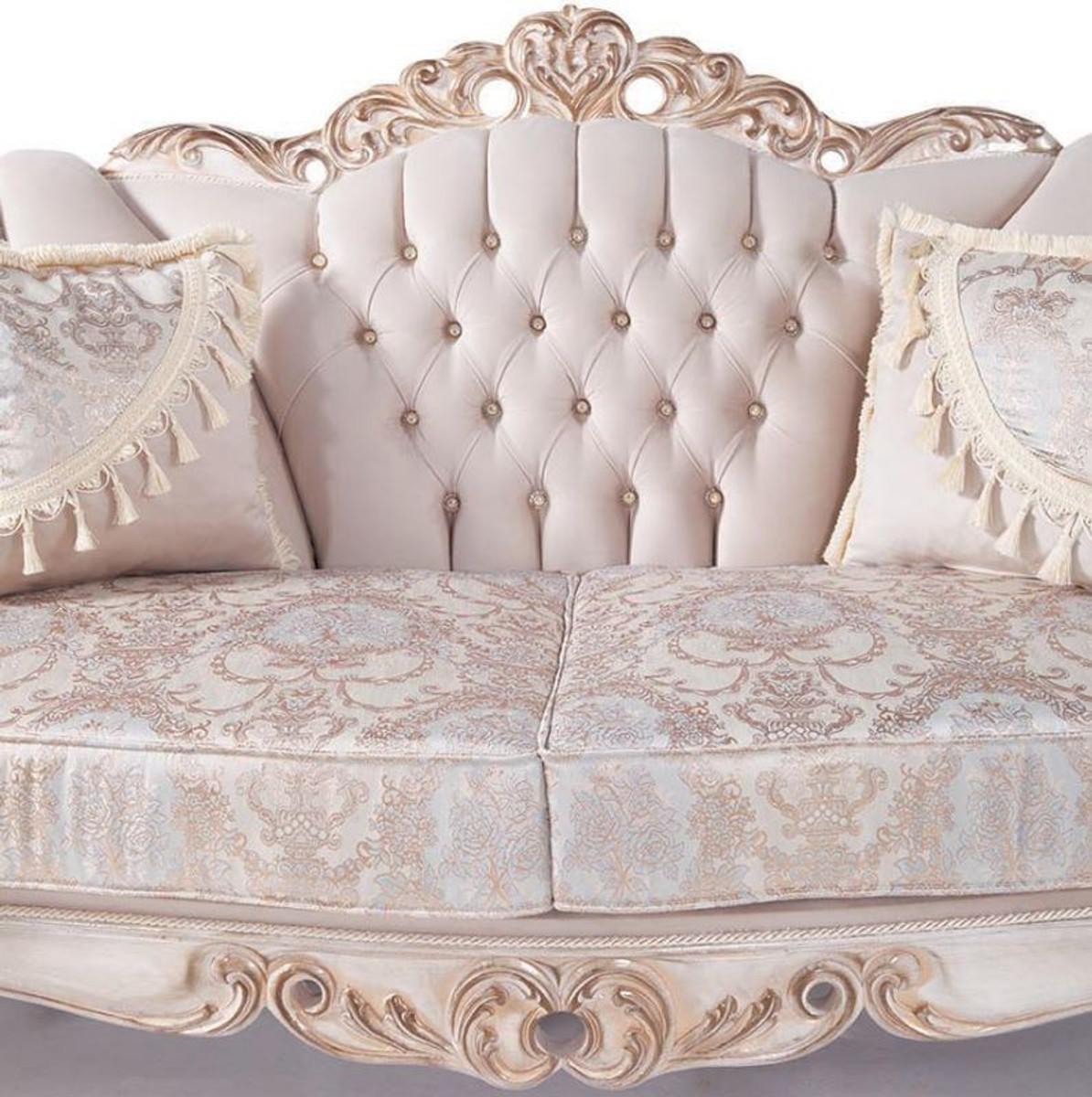 Wohnzimmer Sitzsack Chacos In Weiß Taupe: Casa Padrino Luxus Barock Wohnzimmer Sofa Mit Kissen