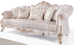 Casa Padrino luxury baroque living room sofa with cushions light gray / white / antique bronze 243 x 89 x H. 106 cm - Baroque Furniture