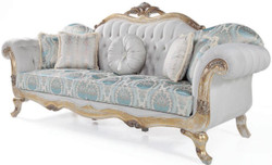 Casa Padrino luxury baroque velvet sofa with cushions gray / turquoise / antique gold 252 x 82 x H. 115 cm - Living Room Furniture in Baroque Style