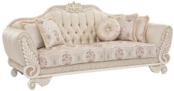 Casa Padrino luxury baroque sofa beige / cream / pink 227 x 87 x H. 107 cm - Living room sofa with decorative pillows - Living Room Furniture in Baroque Style