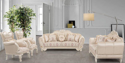 Casa Padrino luxury baroque living room set beige / cream / pink - 2 Sofas & 2 Armchairs - Living Room Furniture in Baroque Style - Noble & Ornate