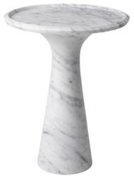 Casa Padrino luxury side table white Ø 46.5 x H. 60 cm - Round side table made of high quality Carrara marble - Luxury Furniture