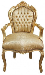 Casa Padrino Baroque dining room chair Gold Flower Pattern / Gold with armrests