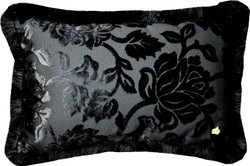 Luxury pillow Pompöös by Casa Padrino by Harald Glööckler Elegance Collection baroque pattern black / black 35 x 55 cm - luxury pillow