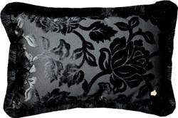 Luxus Kissen Pompöös by Casa Padrino von Harald Glööckler Elegance Collection Barock Muster Schwarz / Schwarz 35 x 55 cm - Luxuskissen