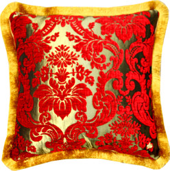 Luxury pillow Pompöös by Casa Padrino by Harald Glööckler Elegance Collection baroque pattern red / gold 50 x 50 cm - luxury pillow