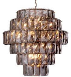 Casa Padrino luxury chandelier gray / silver Ø 80 x H. 80 cm - Modern round crystal glass chandelier - Luxury Quality
