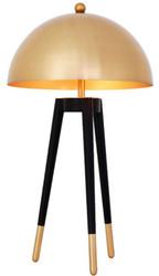 Casa Padrino Luxus Tischleuchte Gold / Schwarz Ø 38,5 x H. 69 cm - Moderne Dreibein Tischlampe mit rundem Metall Lampenschirm