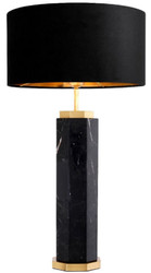 Casa Padrino luxury table lamp black / antique brass Ø 40 x H. 72.5 cm - Modern marble table lamp with round lampshade - Luxury Quality