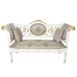 Casa Padrino baroque bench gray cream pattern / white gold 155 x 50 x H. 70 cm - antique style bench