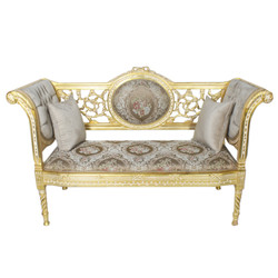Casa Padrino baroque bench gray cream pattern / gold 155 x 50 x H. 70 cm - antique style bench