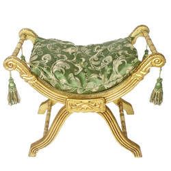 Casa Padrino baroque stool - cross stool green pattern / gold - antique furniture