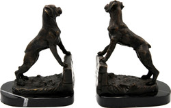 Casa Padrino luxury bookends set dogs bronze on black marble base - luxury decoration