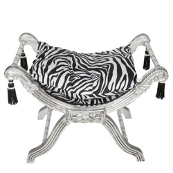 Casa Padrino baroque stool - cross stool zebra / silver - furniture