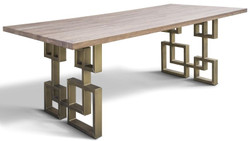 Casa Padrino designer solid wood dining table with rustic oak table top and steel legs - Different Colors & Sizes - Dining Table
