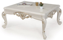 Casa Padrino luxury baroque coffee table white / gold 115 x 85 x H. 50 cm - Solid wood living room table in baroque style - Baroque Furniture