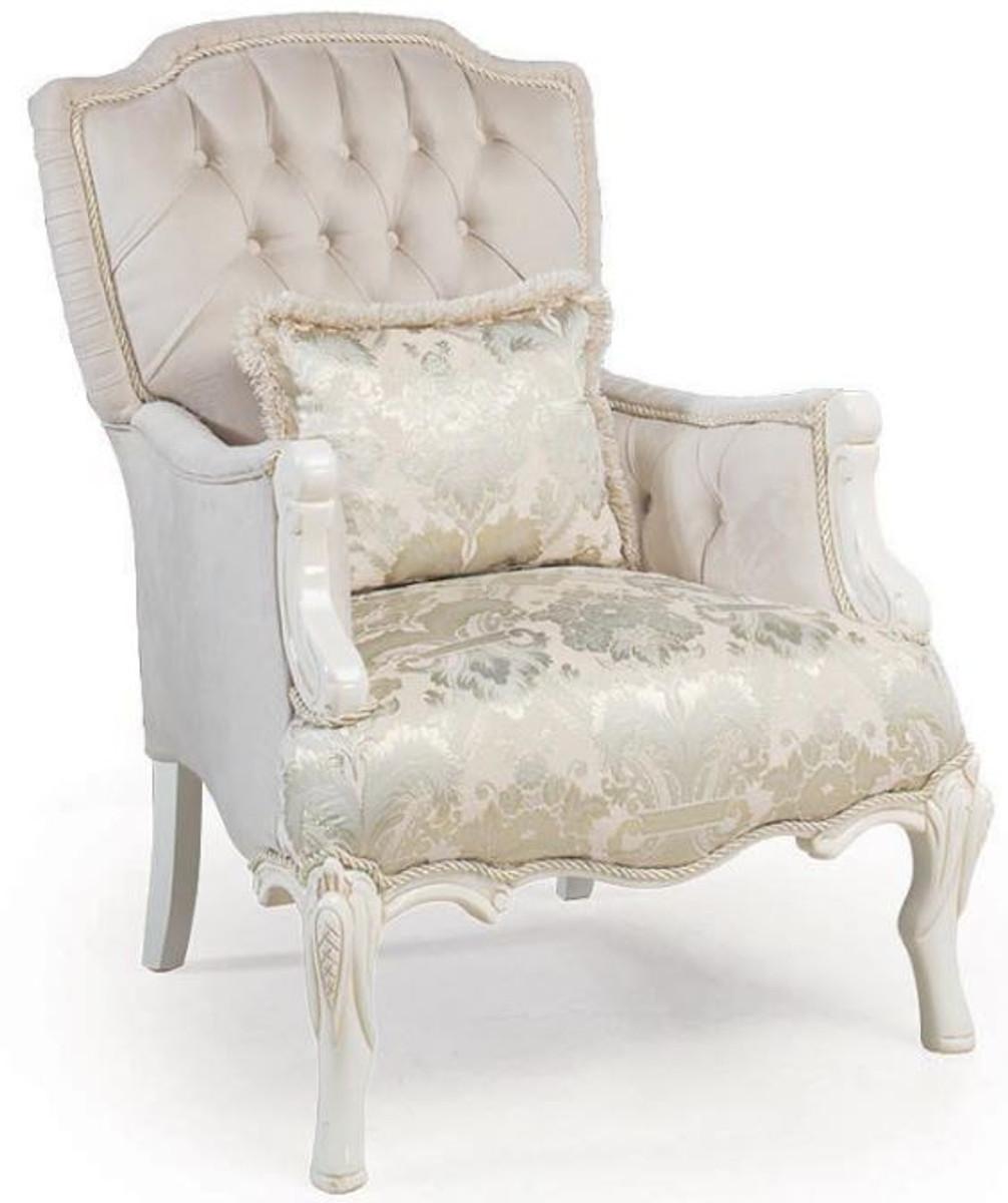 Casa Padrino Luxus Barock Wohnzimmer Sessel Mit Dekorativem Kissen Hellrosa Weiss Beige 85 X 85 X H 115 Cm Barock Mobel Barockgrosshandel De