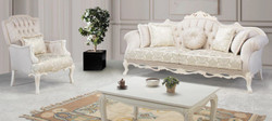 Casa Padrino luxury baroque living room set light pink / white / beige - 2 Sofas & 2 Armchairs & 1 Coffee Table - Ornate Living Room Furniture in Baroque Style