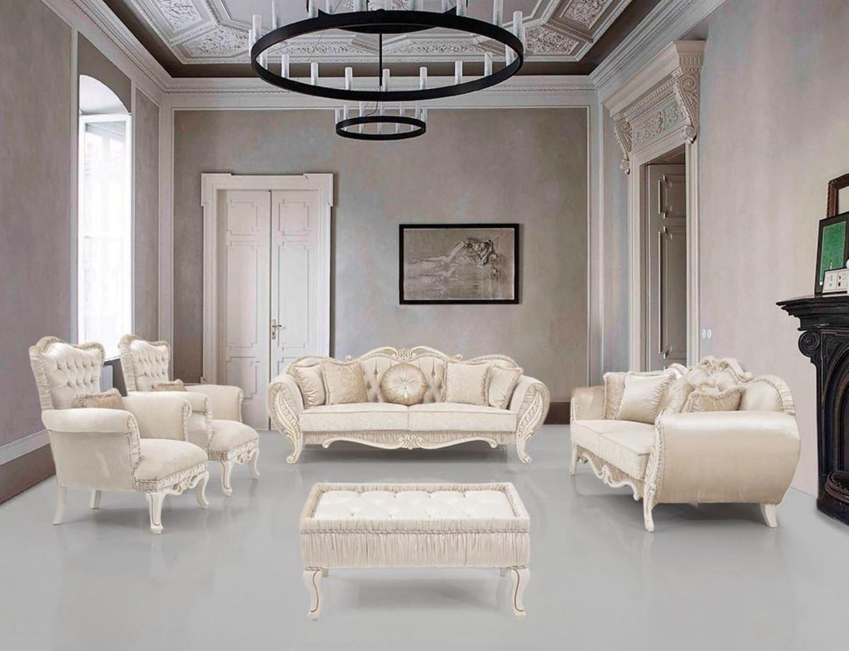 Casa Padrino Luxus Barock Wohnzimmer Set Beige Creme Gold 2 Sofas 2 Sessel 1 Beistelltisch Wohnzimmer Mobel Im Barockstil Edel Prunkvoll