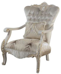 Casa Padrino luxury baroque armchair with decorative cushion multicolor / white / gold 85 x 76 x H. 110 cm - Baroque Living Room Furniture