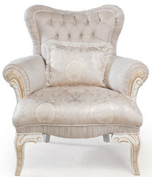 Casa Padrino luxury baroque armchair light pink / white / gold 83 x 96 x H. 102 cm - Living room armchair with decorative pillow - Baroque Style Furniture