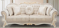 Casa Padrino luxury baroque sofa light pink / white / gold 237 x 90 x H. 99 cm - Living room sofa with decorative pillows - Baroque Style Furniture