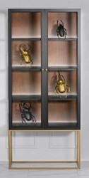 Casa Padrino Luxus Glas Vitrine Schwarz / Messing Gold 200 x 90 cm - Luxus Boutique Vitrinenschrank - Neoklassisch
