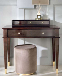 Casa Padrino luxury neoclassical dressing table with 5 drawers brown / gold 100 x 50 x H. 81 cm - Art Deco Furniture
