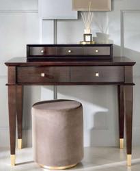 Casa Padrino Luxus Neoklassik Schminktisch mit 5 Schubladen Braun / Gold 100 x 50 x H. 81 cm - Art Deco Möbel