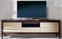 Casa Padrino luxury neoclassical TV cabinet brown 200 x 45 x H. 61 cm - TV cabinet with 5 mirrored drawers - Luxury Living Room Furniture
