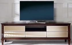 Casa Padrino Luxus Neoklassik Fernsehschrank Braun 200 x 45 x H. 61 cm - TV Schrank mit 5 verspiegelten Schubladen - Luxus Wohnzimmer Möbel