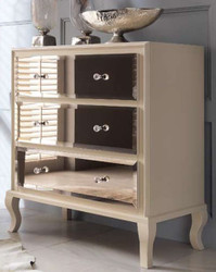 Casa Padrino luxury neoclassical chest of drawers with 3 mirrored drawers cream 100 x 50 x H. 103 cm - Luxury Quality