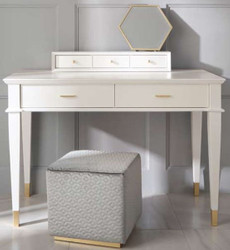Casa Padrino luxury neoclassical dressing table with 5 drawers white / gold 120 x 50 x H. 81 cm - Art Deco Furniture