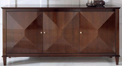 Casa Padrino luxury neoclassical sideboard with 3 doors brown 202 x 50 x H. 100 cm - Living room cabinet - Art Deco Furniture