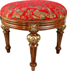 Pompöös by Casa Padrino luxury baroque stool round red pattern / brown gold - pompööser baroque stool designed by Harald Glööckler