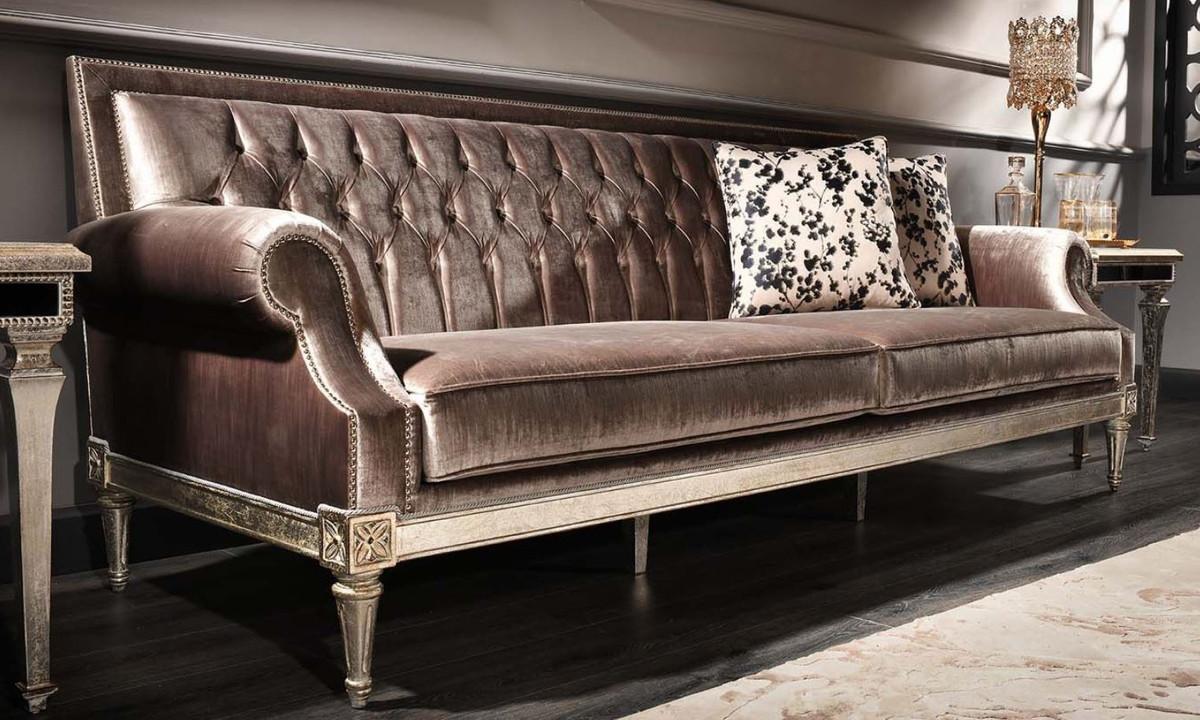 Casa Padrino Luxus Barock Wohnzimmer Samt Sofa Rosa / Antik Silber 250 x 88 x H. 100 cm - Edel & Prunkvoll 1