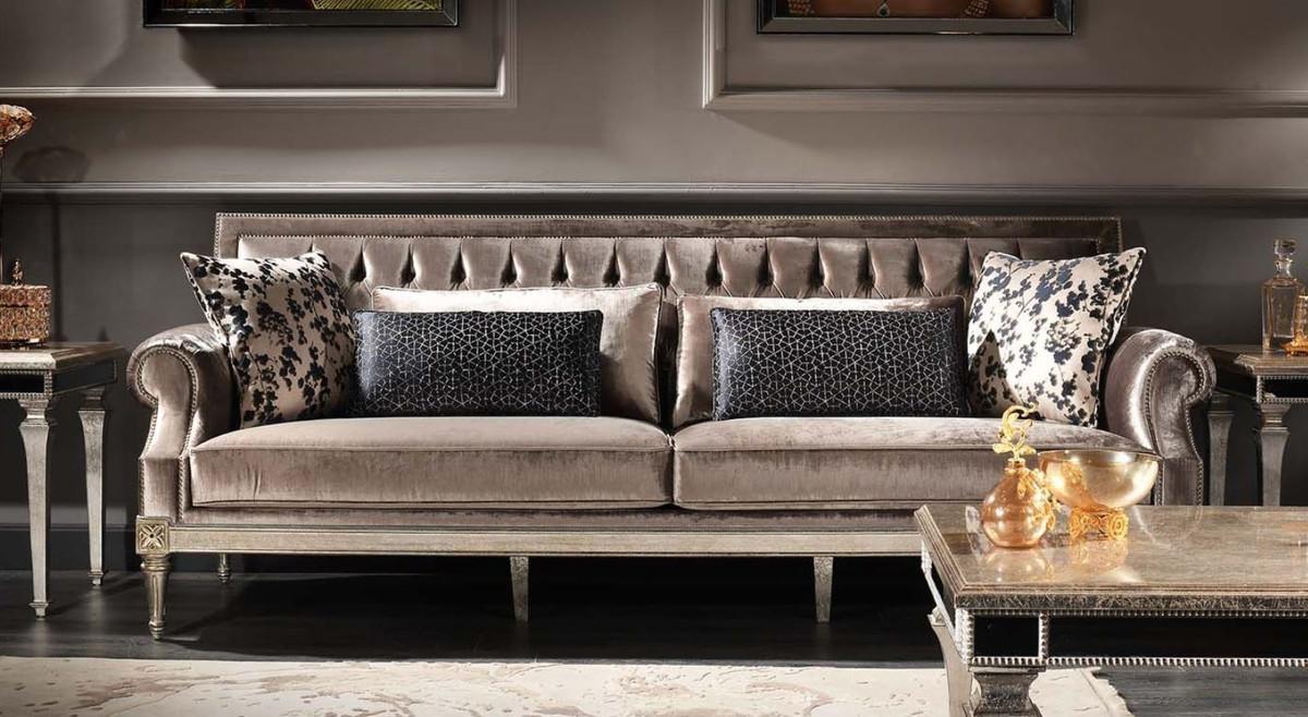 Casa Padrino Luxus Barock Wohnzimmer Samt Sofa Rosa / Antik Silber 250 x 88 x H. 100 cm - Edel & Prunkvoll 3