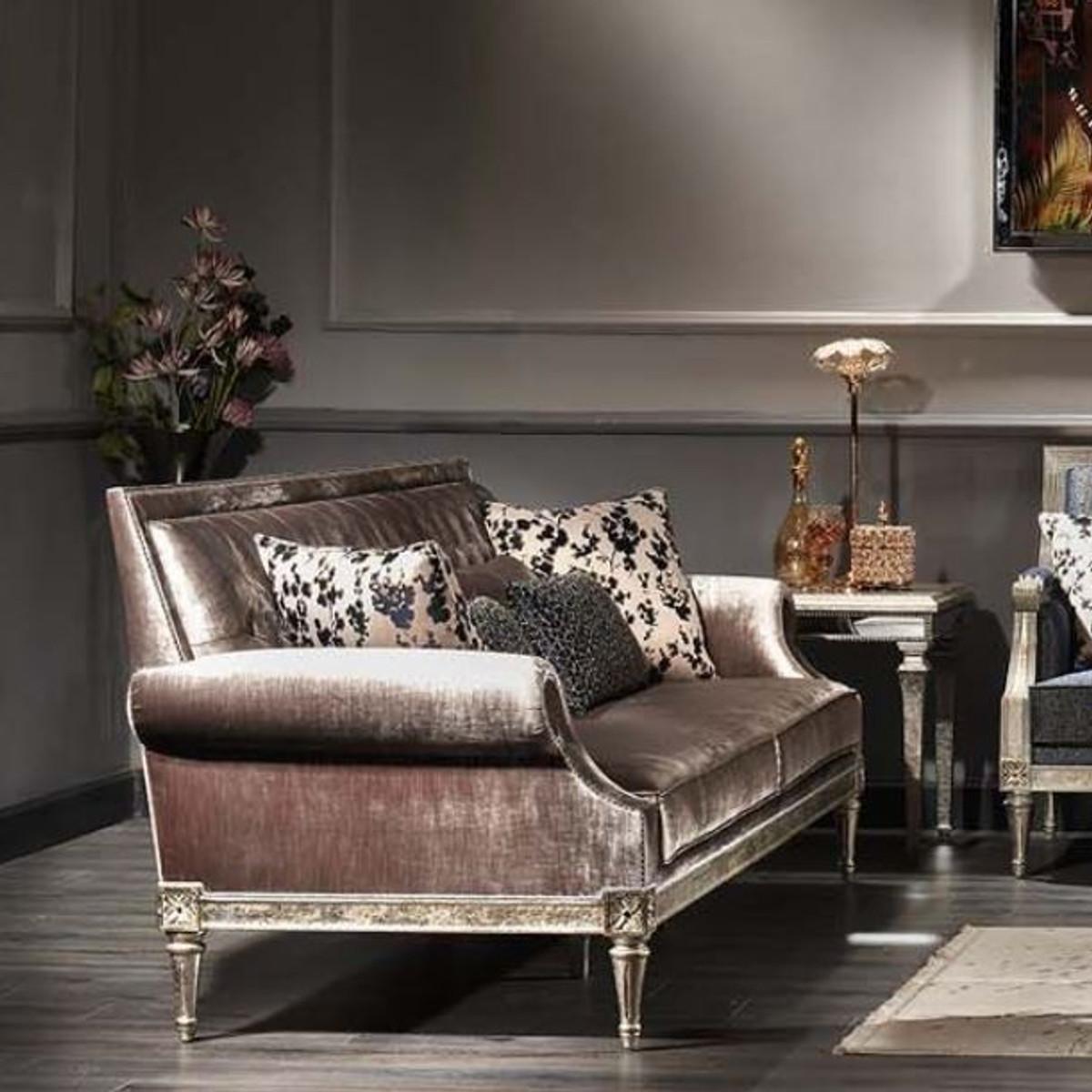 Casa Padrino Luxus Barock Wohnzimmer Samt Sofa Rosa / Antik Silber 250 x 88 x H. 100 cm - Edel & Prunkvoll 4