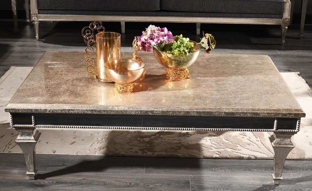 Casa Padrino Luxus Barock Couchtisch Antik Silber 140 x 90 x H. 45 cm - Edler Massivholz Wohnzimmertisch mit Spiegelglas - Luxus Qualität 1