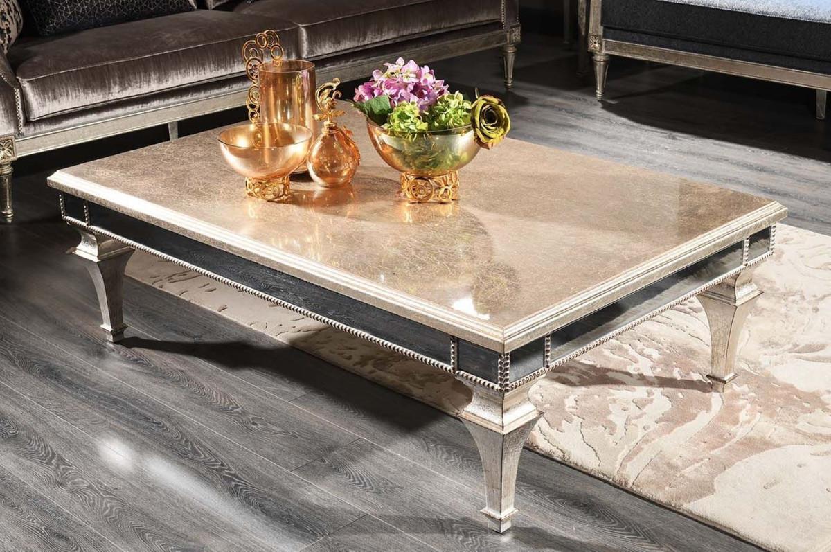 Casa Padrino Luxus Barock Couchtisch Antik Silber 140 x 90 x H. 45 cm - Edler Massivholz Wohnzimmertisch mit Spiegelglas - Luxus Qualität 2