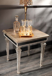 Casa Padrino luxury baroque side table antique silver 62 x 62 x H. 60 cm - Noble solid wood table with mirror glass - Luxury Quality