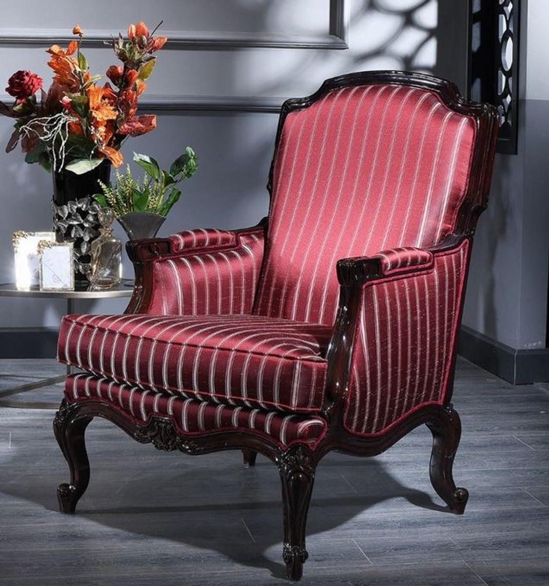 Casa Padrino Luxus Barock Sessel Bordeauxrot / Silber / Schwarz 77 x 85 x H. 110 cm - Gestreifter Wohnzimmer Sessel im Barockstil 1