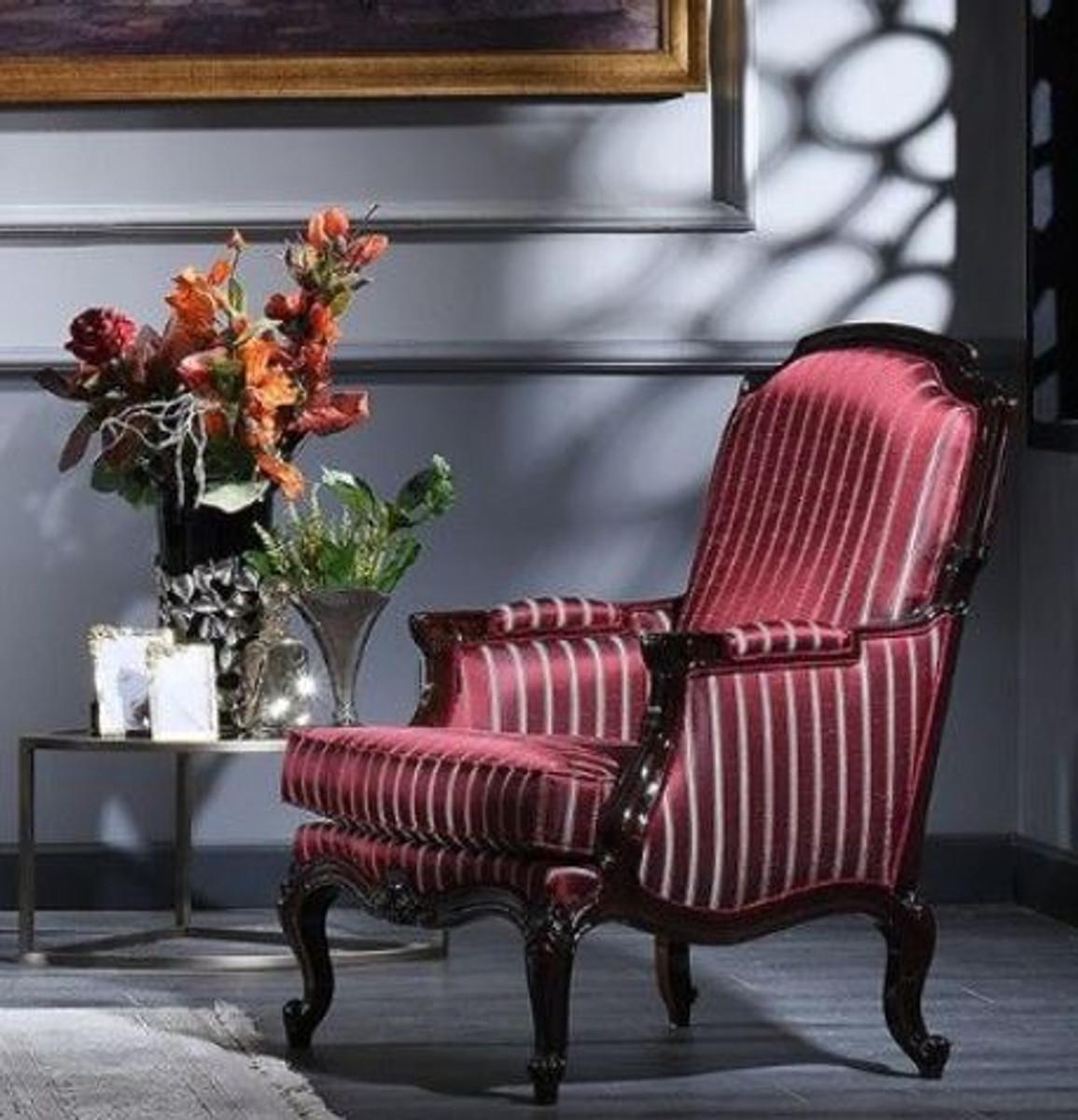 Casa Padrino Luxus Barock Sessel Bordeauxrot / Silber / Schwarz 77 x 85 x H. 110 cm - Gestreifter Wohnzimmer Sessel im Barockstil 2