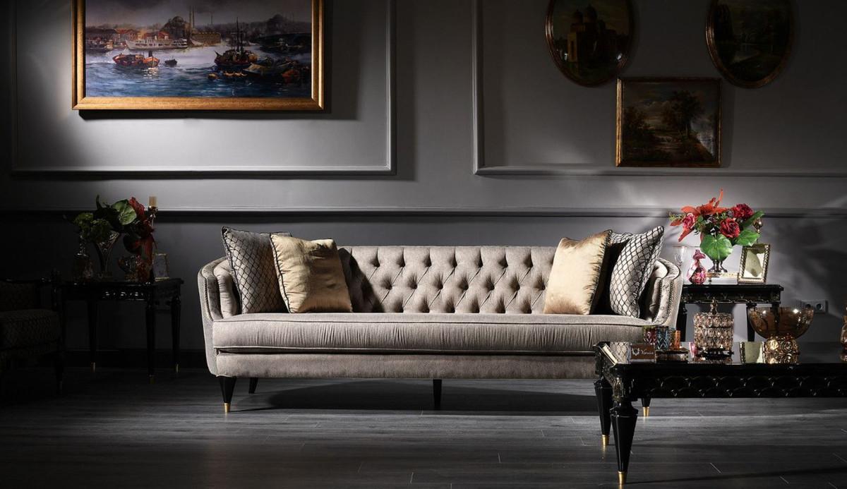 Casa Padrino Luxus Barock Sofa Grau / Schwarz / Gold 231 x 94 x H. 83 cm - Barock Wohnzimmermöbel 2