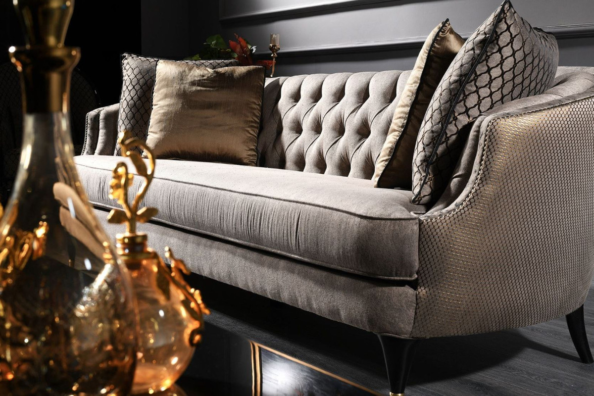 Casa Padrino Luxus Barock Sofa Grau / Schwarz / Gold 231 x 94 x H. 83 cm - Barock Wohnzimmermöbel 3