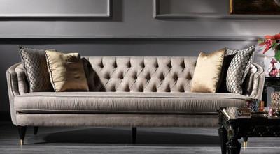 Casa Padrino Luxus Barock Sofa Grau / Schwarz / Gold 231 x 94 x H. 83 cm - Barock Wohnzimmermöbel