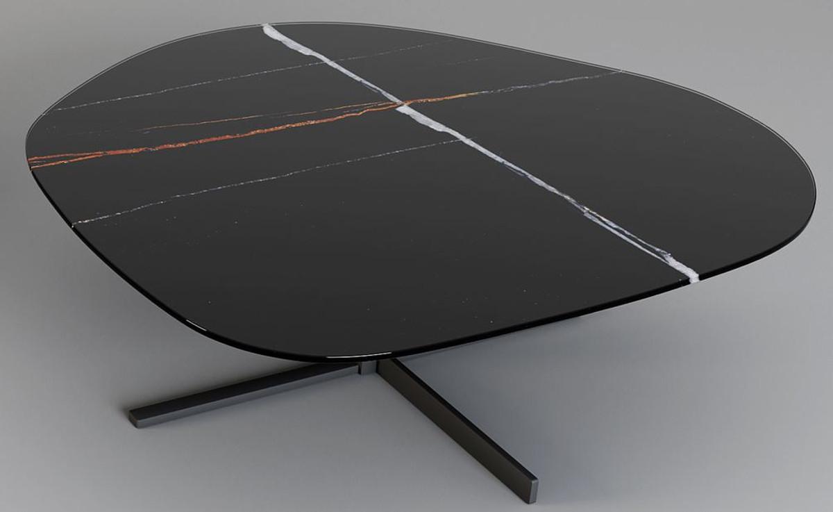 Casa Padrino Designer Couchtisch 109 x 100 x H. 37 cm - Verschiedene Farben - Wohnzimmertisch mit edler Glaskeramik Tischplatte in Marmoroptik - Luxus Wohnzimmer Möbel 2