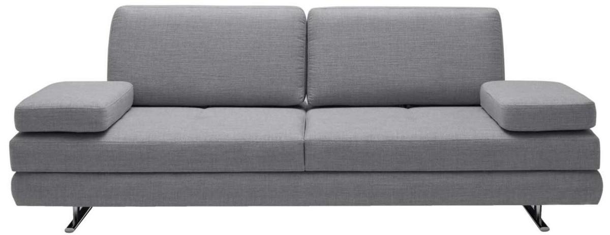 Casa Padrino Luxus Wohnzimmer Sofa mit umklappbaren Armlehnen Grau 218 x 108 x H. 81 cm - Luxus Möbel 1